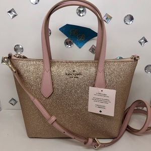 KATE♠️SPADE JOELEY SMALL SATCHEL SPARKLE ROSE GOLD